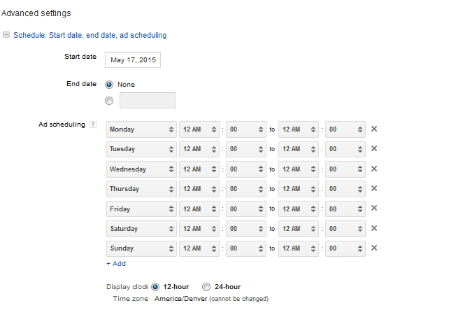 Adwords Scheduling