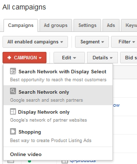 Adwords Campaign Creation Options